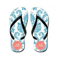 Personalized Flip Flops – Chic – Scalloped Round Frame - $27.00