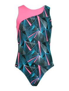 Leotards | Gymnastic Workout Clothes | k-Bee Leotards - Illusion Turquoise/Neon Pink Leotard - k-Bee Leotards