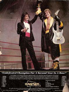 Check out this rare Kramer Ad w/ Eddie Van Halen Eddy Van Halen, Alex Van Halen, Custom Electric Guitars, Custom Guitars, David Lee Roth, Indie Music, 80s Music, I Love Music, Music Photo