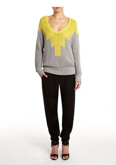 Hand Knit Intarsia Deep U-Neck Pullover - Love this design but that deep neck looks cold but then I live in Maine!