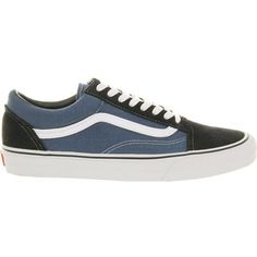 Vans Old skool trainers (78 CAD) ❤ liked on Polyvore featuring men's fashion, men's shoes, men's sneakers, navy, vans mens shoes, mens navy blue sneakers, mens navy shoes, mens retro sneakers and navy blue mens shoes