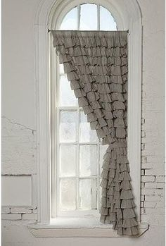 ❥ gray ruffle curtains~