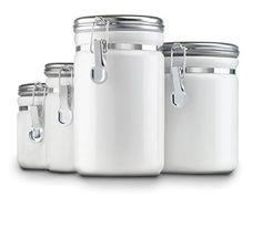 Canister Set White 4 Piece Kitchen Counter Storage Flour Sugar Coffee Tea Lids  #AnchorHocking