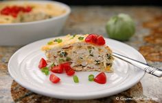 Gourmet Girl Cooks: Chicken Suiza Pie - Layered Chicken Enchiladas w/ Tomatillo Cream Sauce