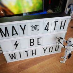 Happy Star Wars Day • May the 4th be with you! #starwars #starwarsday #may4th #maytheforcebewithyou #stormtrooper #lightbox Light Up Box, Light Board, Sign Sayings, Sign Quotes, Classroom Layout, Classroom Decor, Lightbox Quotes, Happy Star Wars Day, Gadgets