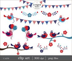 July 4th Independent day Bird clip art Bunting Flower Patriotic red white blue -CA277 by GingerWorld on Etsy