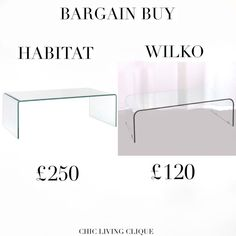 Bargain Buy: Glass Coffee Table – Chic Living Clique Coffee, Chic, Glass, Table, Stuff To Buy, Kaffee, Shabby Chic, Drinkware, Corning Glass