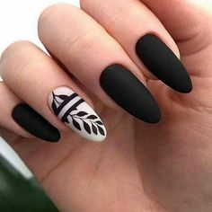 Elegant Black And White Nail Art Designs You Need To Try; Elegant Black And White Nail Art Designs; Elegant Black And White Nail; Black And White Nail; Black And White Nail Art Designs; Almond Acrylic Nails, Cute Acrylic Nails, Cute Nails, Black Nail Designs, Pretty Nail Designs, Nail Art Designs, Nails Design, Black And White Nail Art, Black Nails