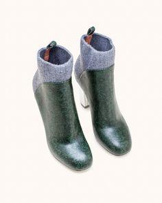 Dries van Noten QU349 High Heel Ankle Boot in Green - Mohawk General Store