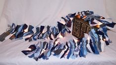 Blue and Gray pre-lit fabric garland, rag tie Fabric Garland, Tie, Gray, Trending Outfits, Unique Jewelry, Handmade Gifts, Vintage, Tissue Garland, Kid Craft Gifts
