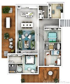 architectural 3d floor plan top