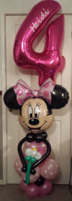 Lovely Minnie Mouse balloon display with personalised number