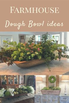 Dough bowl ideas - Salle A Manger Country Decor, Rustic Decor, Rustic Sofa, Dining Room Table Centerpieces, Kitchen Centerpiece, Rustic Centerpieces, Centerpiece Ideas, Deco Nature, Deco Floral