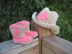 baby Cowgirl hat and booties set by CrochetWorksbyAmanda on Etsy, $35.00