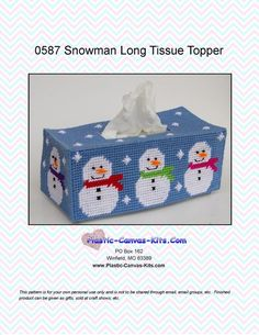 Snowman Long Tissue Topper-Plastic Canvas Pattern-PDF Download