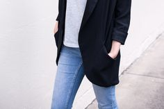 Outfit - Wilfred Jacket, Bonds t Shirt, Cheap Monday Denim, Nine West Shoes | Death by Luxe