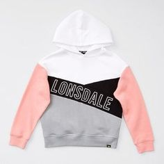 A relaxed fit panelled hooded jumper, brought to you by the brand of champions - Lonsdale London. Team with the matching Panelled Trackpant for a complete look. Target, Kids Tops, Pullover Hoodie, London, Black And White, Pink Black, Lounge Wear, Hoods, Jumper