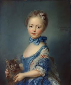 A Girl With a Kitten attributed to Jean-Baptiste Perronneau, 1745