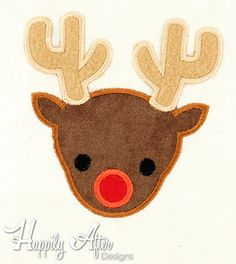 Reindeer Applique Embroidery Design, christmas applique, deer applique, machine embroidery, applique, xmas applique, reindeer embroidery