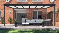 Gumax terrasoverkapping vooraanzicht 6.06m breed x 2.5m diep klassiek antraciet met opaal polycarbonaat dak Relax, Opal, Garage Doors, City, Garden, Outdoor Decor, Home Decor, Outdoors, Image
