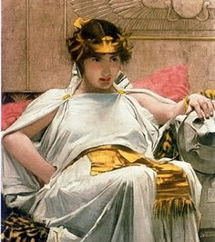 John William Waterhouse   Cleopatra, 1888, oil on canvas,private collection.  John William Waterhouse was an English Pre-Raphaelite painter who is most famous for his paintings of female characters from Greek and Arthurian mythology.