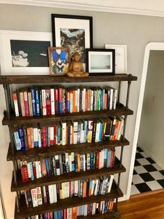 Rustic Industrial bookcase, Wooden Book Shelf, Rustic book shelf, Steampunk tier stand, Farmhouse t Rustic Bookshelf, Wooden Bookcase, Library Bookshelves, Ikea Mirror, Deep Shelves, Small Wood Projects, Tiered Stand, Wood Pieces, Rustic Industrial