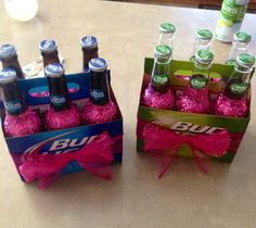 21st birthday beer bottles! Holy adorable! All you need is Modge podge, glitter, and of course some beer!