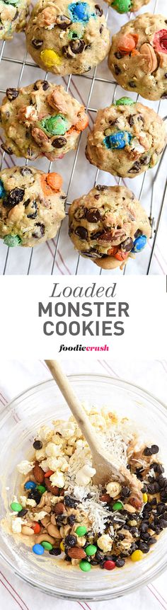 Whole wheat pastry flour, nuts, raisins, popcorn, coconut and chocolate bits all combine to make one monster of a healthy cookie   foodiecrush.com
