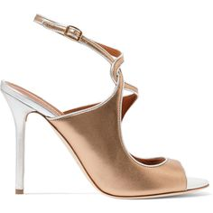 Malone Souliers Della metallic leather sandals ($850) ❤ liked on Polyvore  featuring shoes,