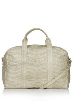 Zig-Zag Quilted Leather Luggage Bag