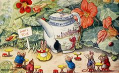 """""""The Tea Shop"""" by Racey Helps Mice. reminds me of Beatrix Potter Beatrix Potter, Pet Mice, Tea Art, Book Week, Vintage Children's Books, Old Postcards, Children's Book Illustration, Art For Kids, Retro"""