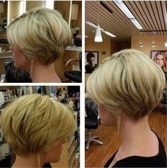 "Great transition from front of hair to back. Requires more hair than I have. [ Pretty Hairstyles for Thin Hair Pro-Tips for a Perfectly Volumised Style - PoPular Haircuts"", ""Simple daily hairstyle for short hair How lucky to have such lovely thick hai Daily Hairstyles, Short Bob Hairstyles, Trendy Hairstyles, Haircut Short, Layered Haircuts, Blonde Haircuts, Stacked Hairstyles, Short Layered Bob Haircuts, Choppy Haircuts"