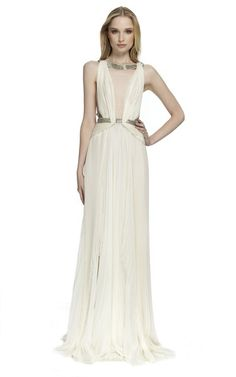 Sleeveless Pleated Gown With Open Back by J. MENDEL for Preorder on Moda Operandi