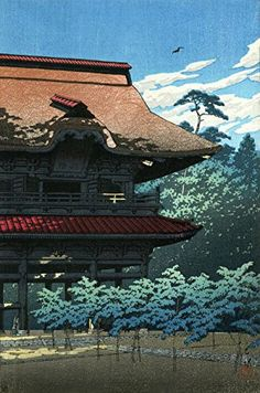 "Japanese Art Print ""Kenjoji, Kamakura"" by Kawase Hasui. Shin Hanga and Art Reproductions http://www.amazon.com/dp/B01DSPCP6A/ref=cm_sw_r_pi_dp_.g5dxb1QHHZEB"