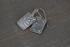 Sterling Silver Dangle Earrings Embossed by MossyCreekStudio