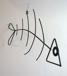 Wire Sculpting | ... Wire Fish Mobile Sculpture or Wall Art - Playful Wire Sculpture