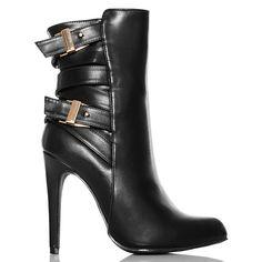 Botki Czarne Kobiece ze Złotymi Klamrami z Tyłu - www.BUU.pl #black #heels #shoes