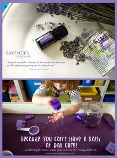 Need some peace and quiet? So do your kids! A calming, lavender water play activity for young children. via www.mysmallpotatoes.com #essentialoils #soothing #sensoryplay