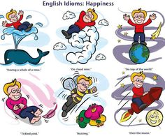 Idioms of happiness English Idioms, English Fun, English Class, English Lessons, English Vocabulary, Teaching English, Learn English, English Language, Language Arts