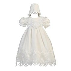 ec17e598e0e Christening 139762  Lito Baby Girls White Embroidered Organza Gown Bonnet  Christening Set 3-24M