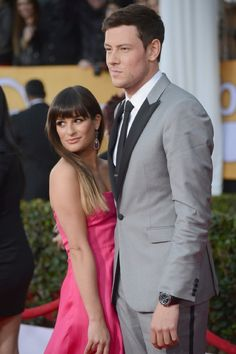 Glee couple Lea Michele & Cory Monteith  2013 Screen Actors Guild Awards - Red Carpet