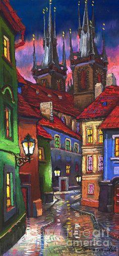 Prague Old Street 01 Painting by Yuriy  Shevchuk.
