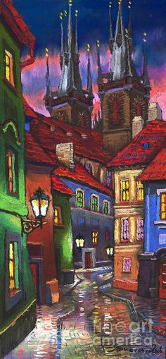 Prague Old Street 01 Painting by Yuriy  Shevchuk