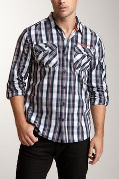 Work to Weekend: Men's Shirts  Triple Five Soul Long Sleeve Roll-Up Shirt