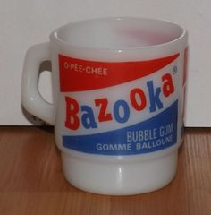 Vintage Fire King Bazooka Bubble Gum O-Pee-Chee Stacking Coffee Mug/Cup