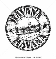 Black grunge rubber stamp with the name of Havana the capital of Cuba written inside the stamp - stock vector