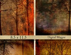Trees printable digital paper pack dark grunge shabby backgrounds collage sheet…
