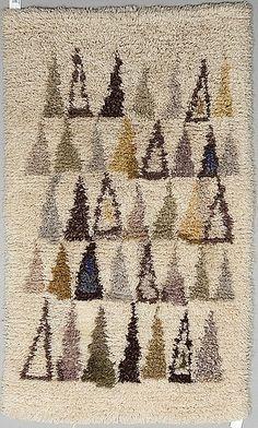 Maija Kolsi-Mäkelä Rya Rug, Wool Rug, Textile Fabrics, Textile Art, Rugs And Mats, Rug Texture, Geometric Rug, Mid Century Modern Furniture, Rug Hooking