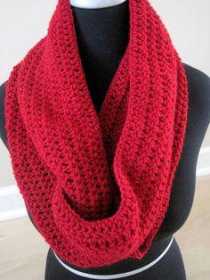 Red crochet cowl infinitity scarf neck warmer by ArrayOfCrochet, $25.00