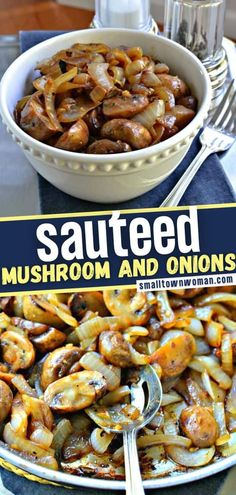 A quick and easy side dish for dinner, topping for grilled steak, or a light meal! Sauteed Mushrooms and Onions is a 6-ingredient recipe that only takes about 20 minutes to prepare. It tastes delicious especially great over baked and mashed potatoes on Thanksgiving dinner! Side Dishes For Chicken, Veggie Side Dishes, Vegetable Sides, Side Dishes Easy, Side Dish Recipes, Onion Recipes, Mushroom Recipes, Vegetable Recipes, Vegetarian Recipes